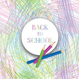 Back to school. Banners with school supplies over kids color pen Royalty Free Stock Photo