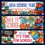 Back to School vector sketch stationery banners. Back to School banners sketch design of school bag or lesson stationery. Vector School Year biology microscope royalty free illustration