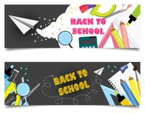 Back to school banners with school supplies royalty free illustration