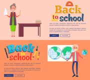 Back to School Banners with Teacher Vector Set. Back to school web banners with teacher standing near blackboard and professor of geography holding globe behind Royalty Free Stock Photo