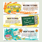 Back to school banners or website header set Stock Image