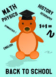 Back to school bear with hat and words Royalty Free Stock Image