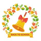 Back to school bell and autumn leavs Royalty Free Stock Image