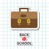 Back to school Big brown schoolbag briefcase on Royalty Free Stock Photos