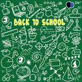 Back to school big doodles set  on green Royalty Free Stock Photography