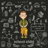 Back to school big doodles set in Hand drawn style. Vector illus Stock Photography