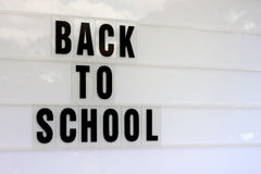 Back to School Billboard with Copy Space. A school noticeboard with the text Back to School plus copy space for school logos, dates etc. Horizontal image royalty free stock photos