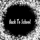 BACK TO SCHOOL on black background with different white stars frame. Illustration Stock Images