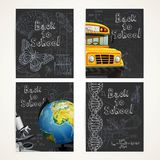 Back to school black banners set with doodles, school bus and globe Stock Image