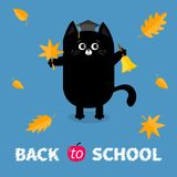 Back to school. Black cat Graduation hat Academic Cap Orange red fall leaf Ringing gold bell. Hello autumn season. Cute funny cart. Back to school. Black cat Royalty Free Stock Images