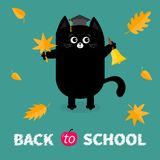 Back to school. Black cat Graduation hat Academic Cap Orange red fall leaf Ringing gold bell. Hello autumn season. Cute funny cart. Back to school. Black cat Stock Images