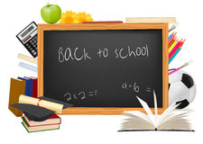 Back to school. Black desk with school supplies. Royalty Free Stock Images