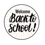 Vector card Back to school black lettering. Round icon isolated on white background. Children`s design. Back to school black lettering. Round icon isolated on Stock Images