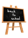 Back to school on blackboard. 3d isolated blackboard with easel with text - back to school Stock Photos