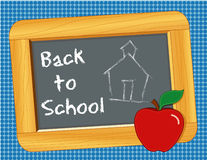 Back to School Blackboard. Wooden slate, child's chalk drawing of a schoolhouse, Back to School with an apple for the teacher! Copy space. EPS8 in groups for Stock Images