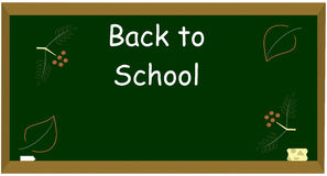 Back to School. A blackboard with the autumnal leaves and ashberries drawed by a chalk and inscription Back to School Stock Illustration