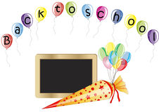 Back to school. Blackboard and Ballons for first School day Royalty Free Stock Images