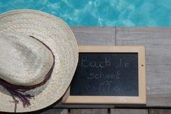 Back to school blackboard / chalkboard. on the pool Stock Photo