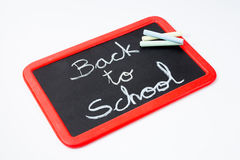 Back to school, blackboard and chalks. Royalty Free Stock Image