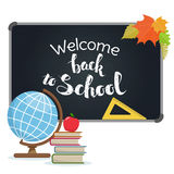 Back to school. Blackboard with greeting, First of September, Back to school. Vector Royalty Free Stock Photos
