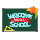 Back to school. Blackboard with greeting, First of September, Back to school. Vector Stock Photography