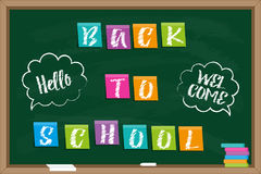 Back to school. Blackboard with Inscription on color sticky paper and chalk drawn inscriptions in speech bubbles Stock Image