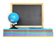 Back to school: Blackboard, notebooks and globe Stock Photos