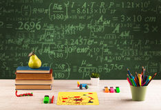 Back to school blackboard with numbers Stock Photos