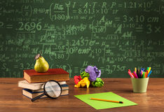 Back to school blackboard with numbers Royalty Free Stock Images