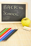 Back to school blackboard and pencils Royalty Free Stock Images