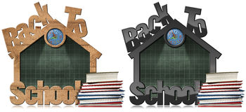 Back to School - Blackboard School Building Stock Photo
