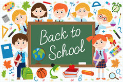 Back to school blackboard with schoolchild and school supplies. Vector illustration, eps Royalty Free Stock Images