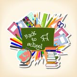 Back to school - blackboard and suppliers Royalty Free Stock Photos