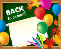 Back to school blackboard template with empty sheet of paper mar Stock Photography