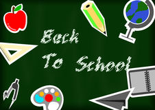 Back to school with blackground and stationery backgrou Stock Photo