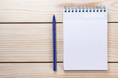 Back to school. Blank note pad, notebook with pen and glasses Stock Image