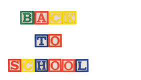 Back To School Blocks. Isolated on white with clipping path Royalty Free Stock Photography