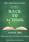 Back to school blue chalk board flyer. Vector illustration of Back to school green chalk board flyer in vintage style Royalty Free Stock Photography