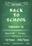 Back to school blue chalk board flyer. Vector illustration of Back to school green chalk board flyer in vintage style Stock Photo