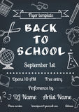 Back to school blue chalk board flyer. Vector illustration of Back to school blue chalk board flyer in vintage style Royalty Free Stock Photography