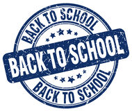 Back to school blue grunge round rubber stamp Stock Photography