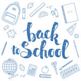 Back to school, blue linear. Set of different items for education. Back to school  lettering, linear icons. Vector stock illustration Royalty Free Stock Images