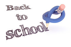 Back to school blue pencil knot concept. Of note- rendering 3d Stock Photos