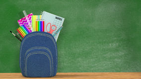 Back to school. A blue Satchel full of school supplies Stock Images