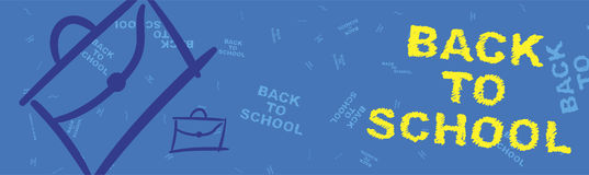 Back to school. Blue web banner on the topic of education with patterns in the background. Flat  illustration EPS 10 Royalty Free Stock Photography