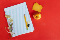 Back to school,the blurry background on the wooden floor. Soon school notebook royalty free stock image