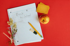 Back to school,the blurry background on the wooden floor. Soon school notebook royalty free stock photography