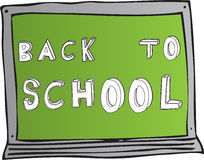 Back to school board. Back to school hand drawn in vector text on a green chalk board. Fully scalable vector illustration vector illustration