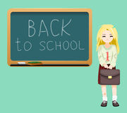 Back to school board cheerful  girl satchel first of September Cartoon Design Vector Illustration. Back to school board cheerful school girl satchel first Royalty Free Stock Photo