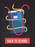 Back to school book with crayons Royalty Free Stock Photos